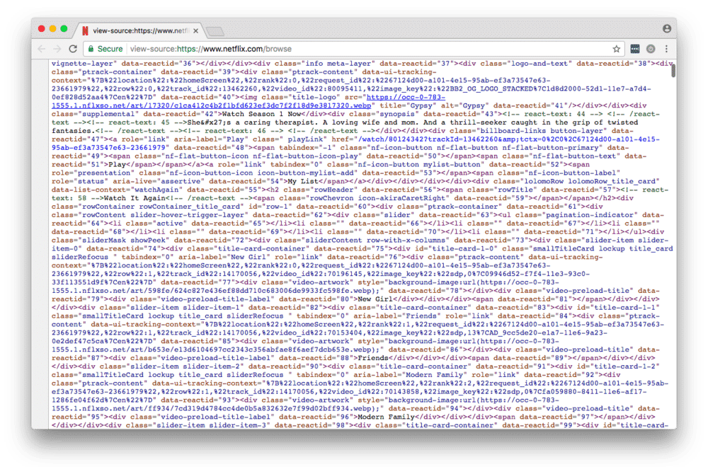 netflix page source code