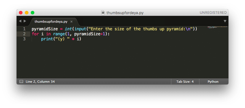 python thumbs up code