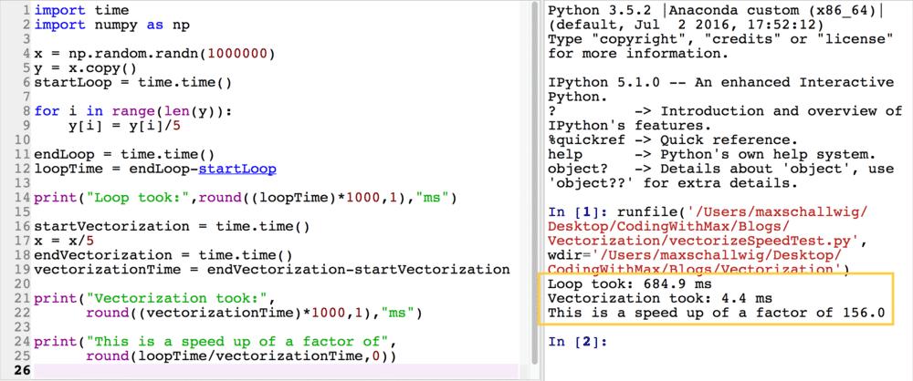 Vectorization speed up Python