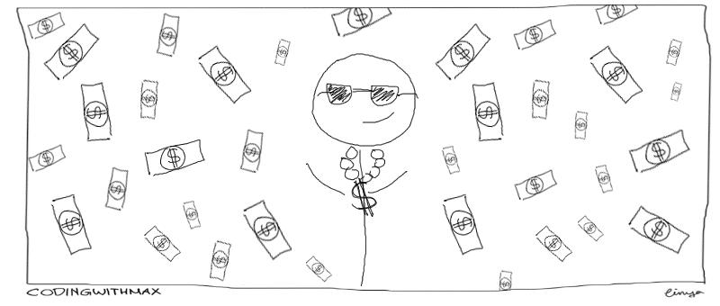 rich man making money rain comic