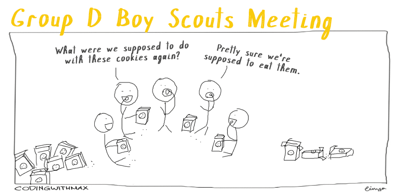 group d boy scouts comic cookies
