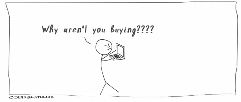 comic obsessing over purchases